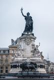 Marianne statue, national symbol of the French Republic at Place de la Republique in Paris, France - 208382354