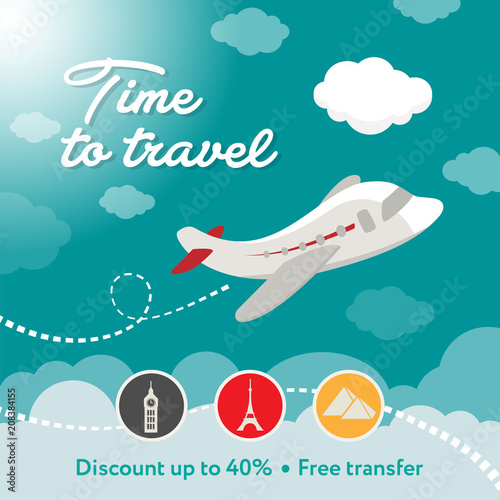 Fototapeta Time to travel. Square banner contains plane, clouds. Discount