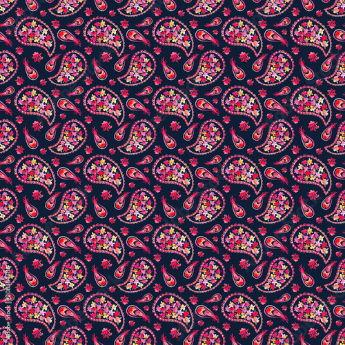 Cotton fabric Hand drawn watercolor seamless pattern with paisley ornament