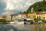 Bellagio village and ferry at the pier, Lake Como, Lombardia, Italy - 208389145