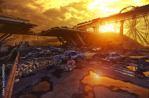 Apocalypse sunset landscape. © victor zastol'skiy