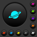 Planet dark push buttons with color icons