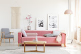 Patterned armchair and pink couch in feminist apartment interior with flowers and posters. Real photo - 208391720