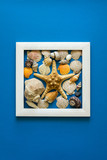 Minimalism. Masterpiece in wooden frame. Sea shells. Top view. Flat lay. Sun protection concept. - 208392568
