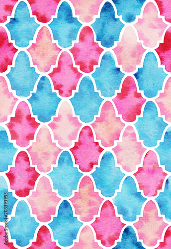 Watercolor seamless pink and blue pattern in Moroccan style - 208393953