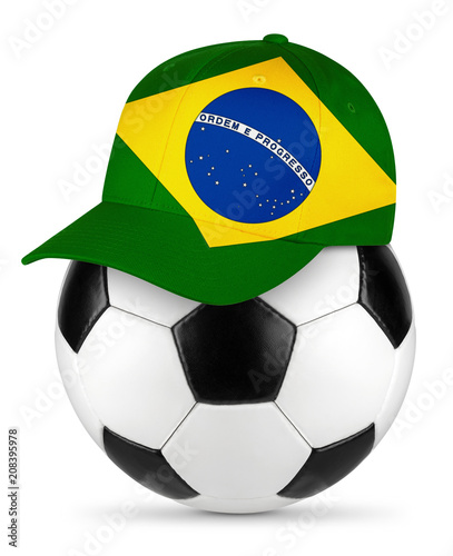 Classic black white leather soccer ball with brazil brazilian baseball fans cap isolated background sport football concept