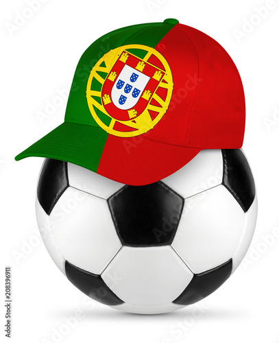 Classic black white leather soccer ball with portugal portuguese baseball fans cap isolated background sport football concept