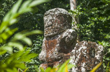 historic stone statues, so called Tikis, created by native inhabitants of Hiva Oa,  Marquesas Islands, French Polynesia - 208397326