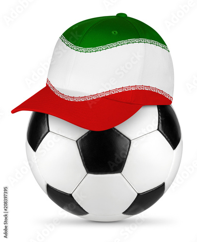 Classic black white leather soccer ball with iran iranian baseball fans cap isolated background sport football concept
