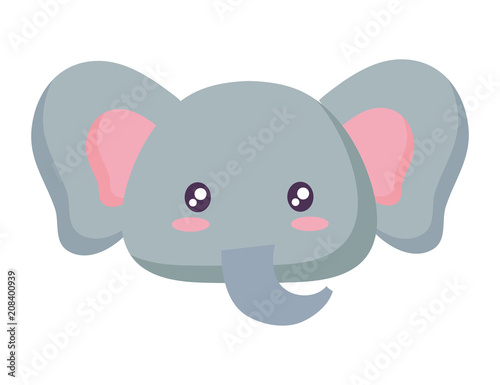 cute elephant icon over white background, vector illustration
