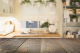 Blurred background. Modern defocused pastel kitchen or cafe with tabletop and space for you. - 208402391