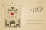Retro postcard with French street cafe and old buildings. Romantic vector card in vintage style with place for text and a rubber stamp in form of Eiffel tower - 208403764