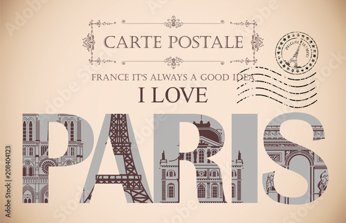 Retro postcard with words I love Paris and rubber stamp with Eiffel tower. Vintage vector card with contour drawings of the famous French architectural landmarks © paseven