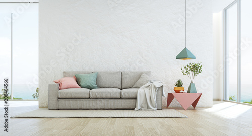 Leinwandbild Motiv Sea view living room of luxury summer beach house with glass window and wooden floor. Empty rough white concrete wall background in vacation home or holiday villa. Hotel interior 3d illustration.