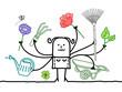 Multitasking Cartoon Gardener with many Arms