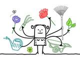 Multitasking Cartoon Gardener with many Arms - 208405955
