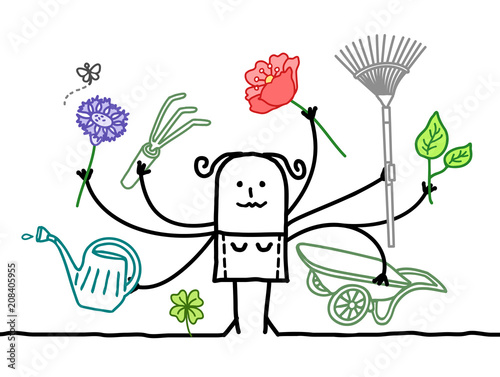 Wall mural Multitasking Cartoon Gardener with many Arms