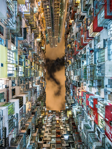Hong Kong, China, view of iconic residential buildings in Hong Kong, one of the most densely populated cities in the world.