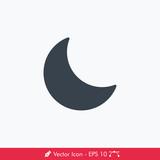 Simple Moon (Night) Vector Icon