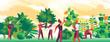 Persone comuni all'opera per creare aree verdi