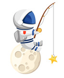 Cute astronaut illustration. Astronaut sits on the moon and fishes. Fishing rod with bait in the form of a star. Cartoon design style. Flat vector illustration isolated on white background