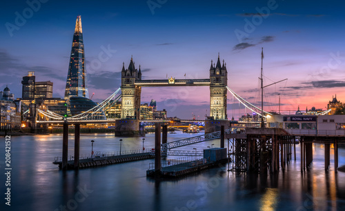 Fotobehang London Tower Bridge, The Shard, and London Skyline at dusk.