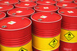 Leinwanddruck Bild - Group of rows of red stacked oil drums in storage warehouse