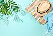 Leinwanddruck Bild - Sunny summer concept background with a strong shadow of palm leaf