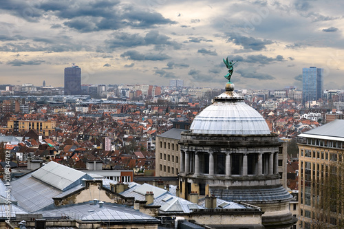 Foto Murales Aerial view of Brussels, Belgium panorama with dramatic clouds at background