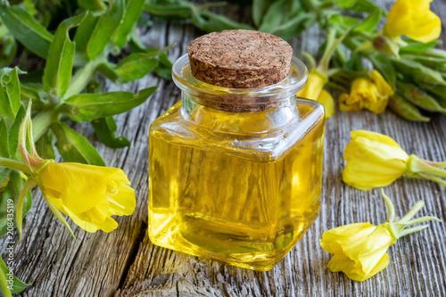 A bottle of evening primrose oil with fresh evening primrose plant