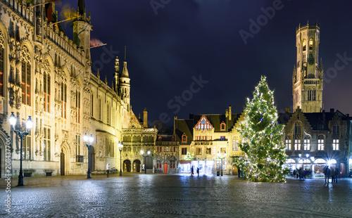 Aluminium Brugge Christmas decorations at square in the beautiful medieval city of Bruges (Brugge), Belgium