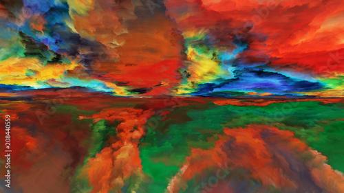 Fotobehang Rood traf. Cloud Abstract Landscape
