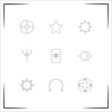 Astrology vector icons set. Outlined linear icons
