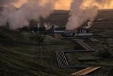 Dramatic sunset and powerplant