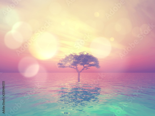 3D landscape with tree in ocean against a sunset sky