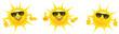 Cartoon Sonne mit Sonnenbrille und Hand Gesten - Set, Daumen hoch, Top, präsentieren, OK - 208447313