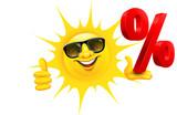 Cartoon Sonne mit Sonnenbrille hält Prozent Zeichen und Daumen hoch