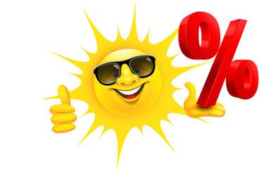 Cartoon Sonne mit Sonnenbrille hält Prozent Zeichen und Daumen hoch © Artenauta