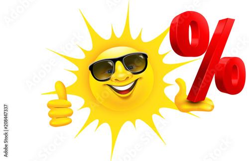 Kreskówki słońce z okularami przeciwsłonecznymi trzyma procentu znaka i aprobaty
