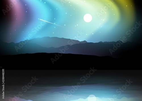 Aluminium Blauwe jeans Night landscape with mountains against a northern lights sky