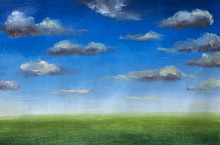"""Постер, картина, фотообои """"Green grass field, blue sky with clouds, oil painting, nobody, spring landscape, summer landscape, nature, skyline art."""""""