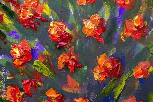 Macro flowers Red yellow poppies in green grass. Fragment of close-up painting. Canvas, oil, palette knife. Abstract flowers. Textured textural background nature landscape illustration - 208458900