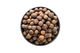 allspice pepper in clay bowl isolated on white background. Seasoning or spice top view - 208460588