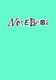 Design of cover in blue with lettering of Notebook in black with different letters and white outlines  - 208464520