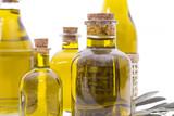 bottles of extra virgin oil isolated - 208466728