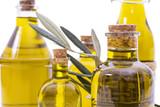 bottles of extra virgin oil isolated - 208466739