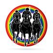Jockey riding horse, hose racing designed on line rainbows background graphic vector. - 208468100