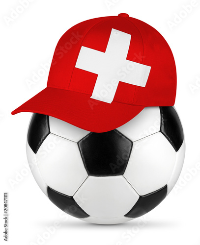 Classic black white leather soccer ball with swiss flag baseball fan cap isolated background sport football concept