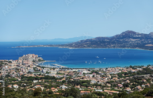 Calvi bay panorama in corsica coast