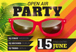 Open air, party, June fifteen lettering with red sunglasses. Summer invitation design. Typed text, calligraphy. For leaflets, brochures, posters or banners. - 208480117